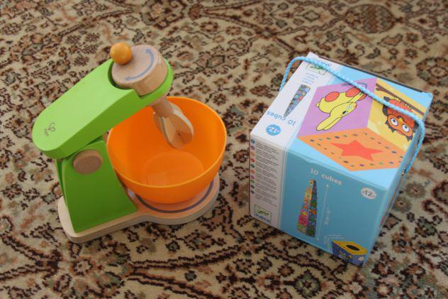 Lotto giochi bambini hape mixer in legno e cubi gioco djeco