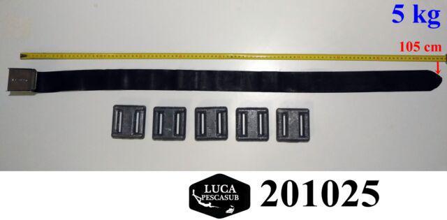 Cintura in gomma seatec fibbia inox + 5 kg di piombi