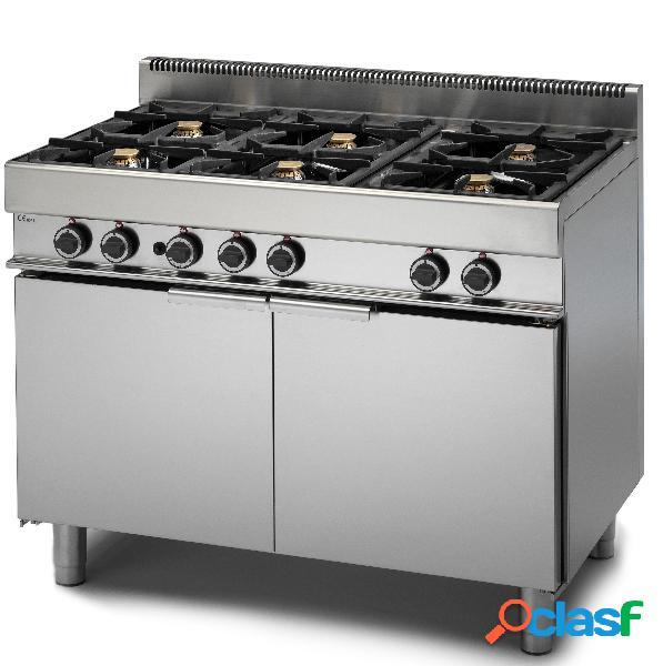 Cucina professionale 6 fuochi a gas, forno maxi a gas, profondità 650 mm