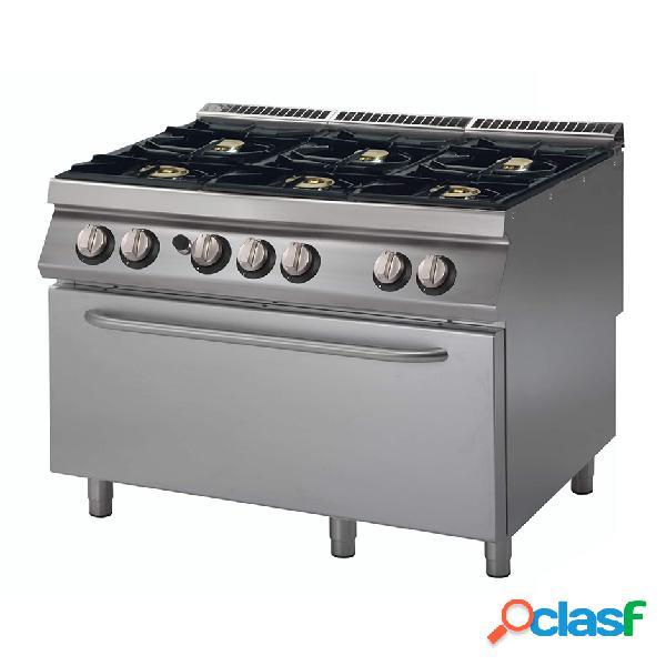 Cucina professionale 6 fuochi a gas, forno a gas maxi, profondità 900 mm