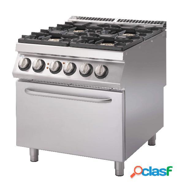 Cucina a gas con 4 fuochi, forno elettrico statico, profondità 900 mm