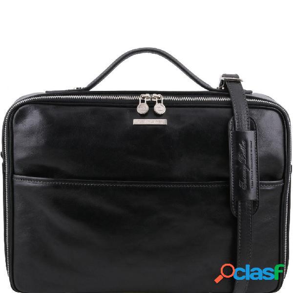 Tuscany leather tl141240 vicenza - cartella porta pc con chiusura zip nero