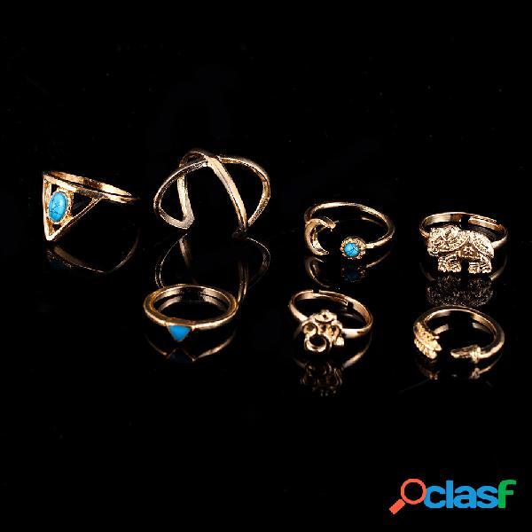 Anelli di barretta bohémien 7pcs moon geometric elephant knuckle ring gioielli vintage per le donne