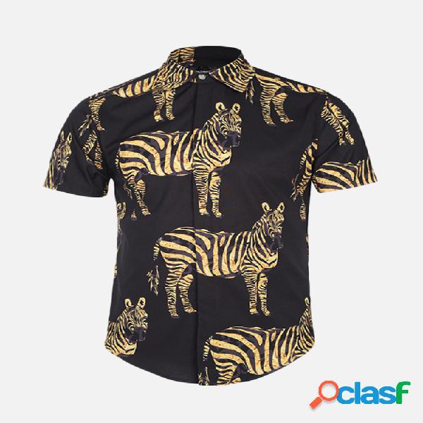 Manica corta da uomo con colletto alla rovescia stampato animali sottile camicia