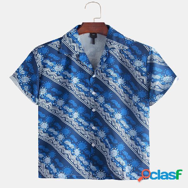 Manica corta da uomo con stampa geometrica tribale africana camicia