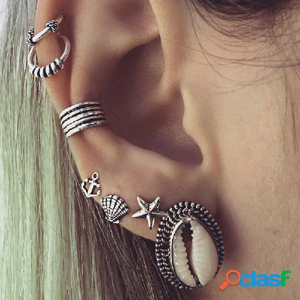 7pcs bohemia shell set di orecchini con stelle marine anchor gold silver ear stud women accessori