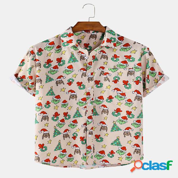 Manica corta da uomo per feste di natale stampata a cartoni animati camicia