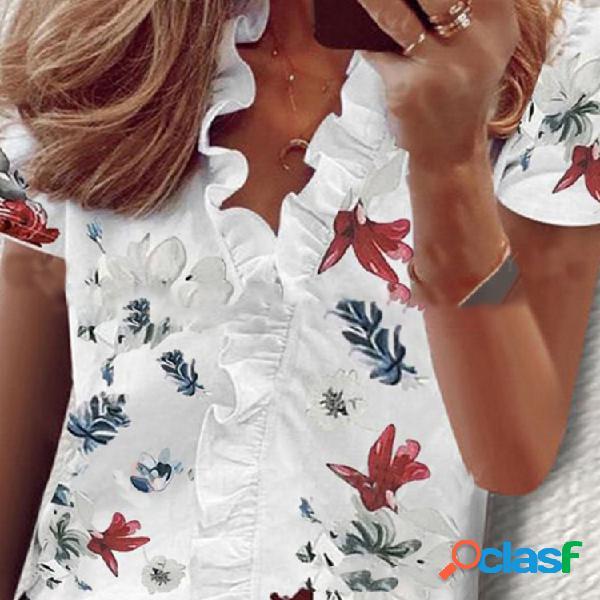Manica corta con stampa floreale a cimosa filante camicia da donna