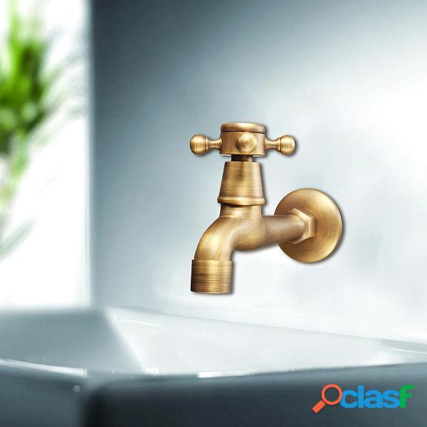 Antiquariato ottone a parete con maniglia a croce rubinetto per acqua rubinetto da bagno in bagno