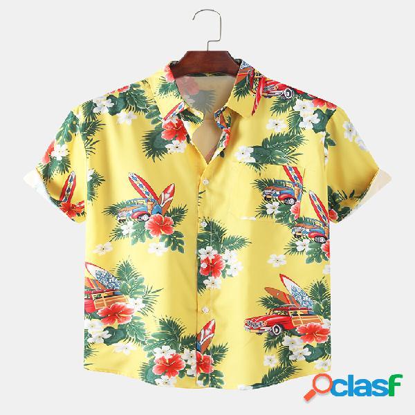 Manica corta risvolto hawaiano da uomo con stampa sulla spiaggia del fumetto da uomo camicia