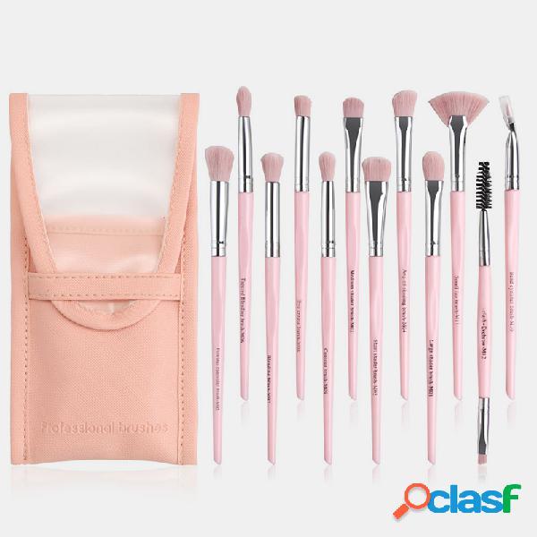 12 pezzi / set professionale trucco pennello set ombretto blush blending pennello bellezza degli occhi trucco pennello kit