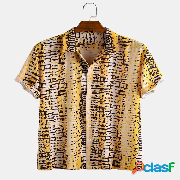 Manica corta colletto bavero a righe acquerello etnico uomo camicia