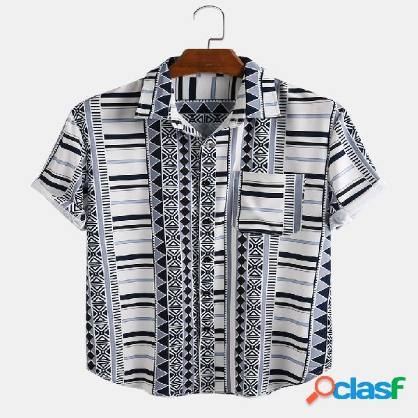 Manica corta tasca petto geometrica stampata etnica da uomo camicia
