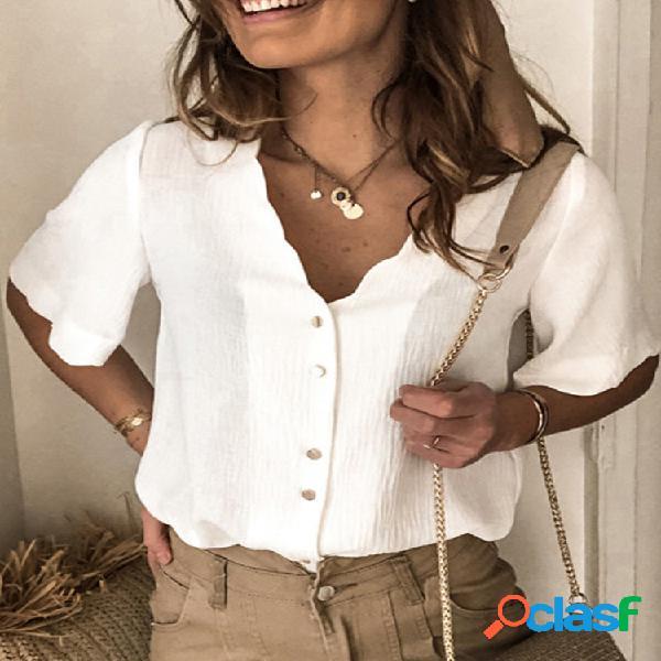 Manica corta con bottoni tinta unita casual camicia per donna