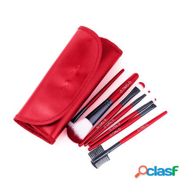 Hot red trucco pennello set 7pcs face eye trucco pennello kit soft capelli cosmetico multifunzionale pennello