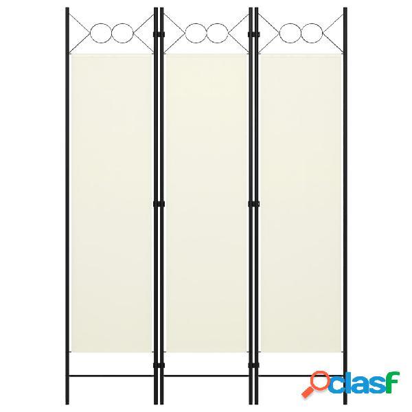Vidaxl paravento a 3 pannelli bianco crema 120x180 cm