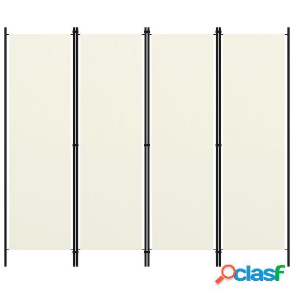 Vidaxl paravento a 4 pannelli bianco crema 200x180 cm
