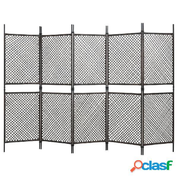 Vidaxl paravento a pannelli in polyrattan marrone 300x200 cm