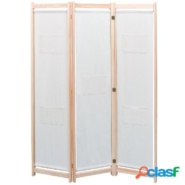 Vidaxl paravento a 3 pannelli crema 120x170x4 cm in tessuto