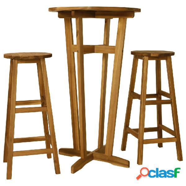 Vidaxl set da bar 3 pz in legno massello di acacia