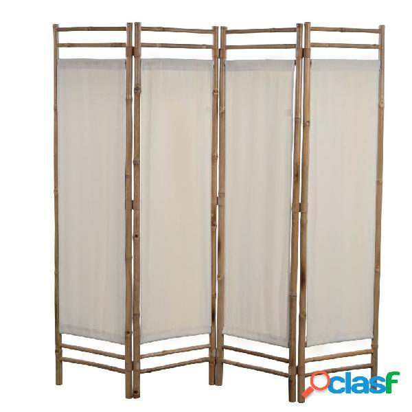 Vidaxl paravento pieghevole a 4 pannelli in bambù e tela 160 cm
