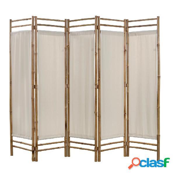 Vidaxl paravento pieghevole a 5 pannelli in bambù e tela 200 cm