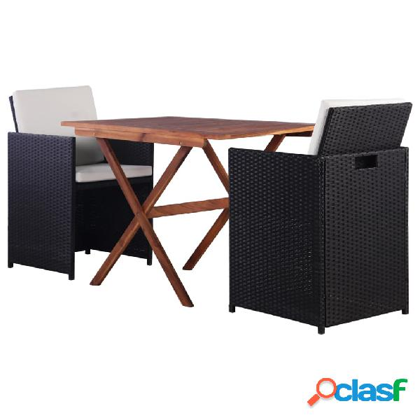 Vidaxl set da bistrot 3 pz in polyrattan e legno di acacia nero