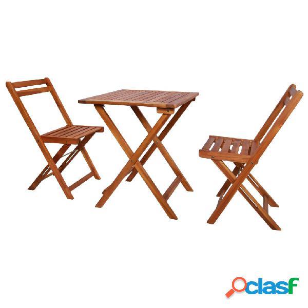 Vidaxl set da bistrot 3 pz pieghevole in legno massello di acacia