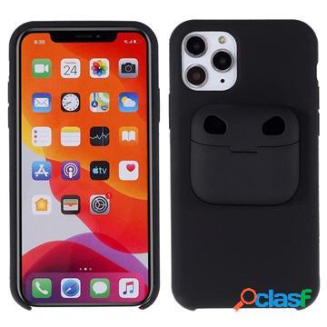 Custodia in silicone per iphone 11 pro max con custodia airpods pro - nera