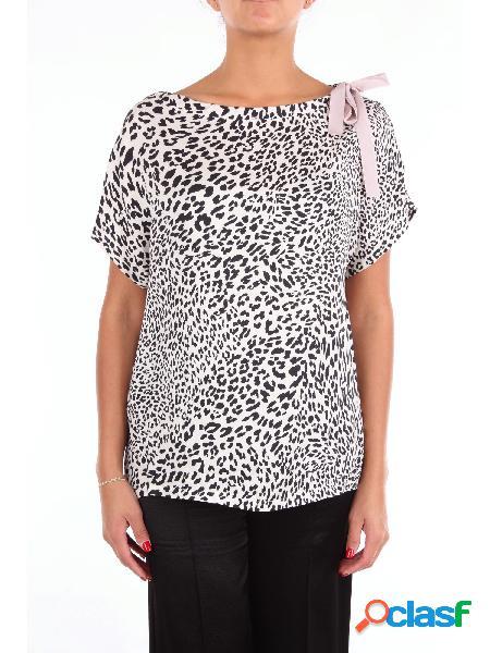 The m.. t-shirt manica corta donna panna e nero