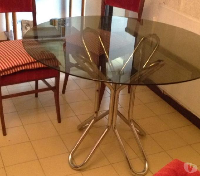 Tavolo tondo acciaio cristallo diametro 107 in vendita roma - vendita mobili usati