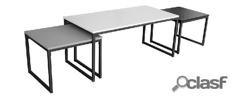 Tavolini bassi a scomparsa nero grigio e bianco laccati con gambe in metallo lotto di 3 trioz