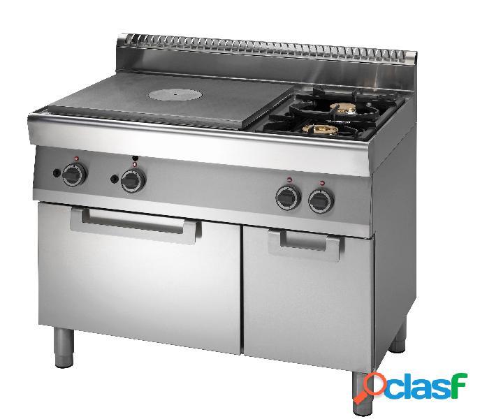 Cucina tuttapiastra a gas + 2 fuochi allestita su forno a gas e armadio neutro, profondità 700 mm