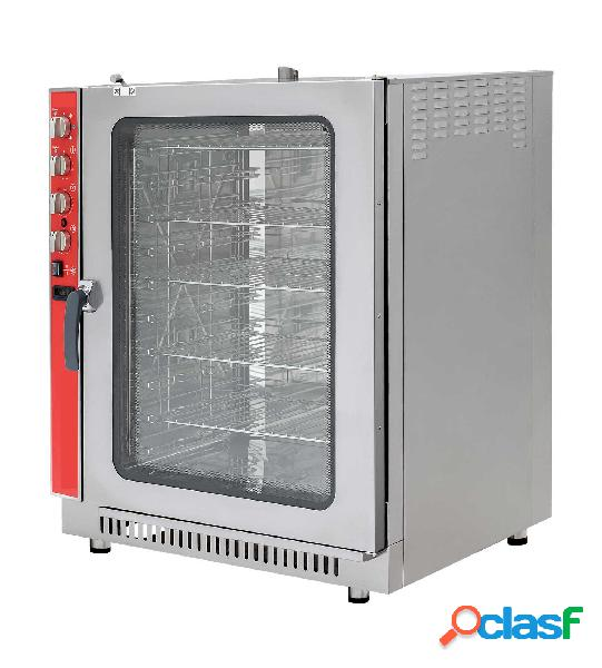 Forno a gas a convezione-vapore-misto, comandi meccanici con umidificatore, per 10 teglie gn1/1 o 600x400 mm
