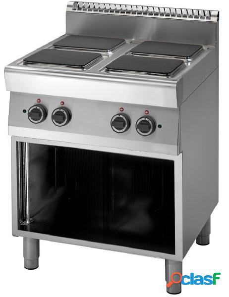 Cucina elettrica con 4 piastre quadrate su armadio aperto, profondità 700 mm