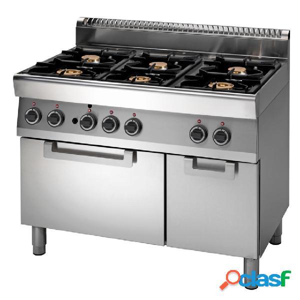 Cucina professionale 6 fuochi a gas, forno elettrico a convezione e armadio neutro, profondità 700 mm