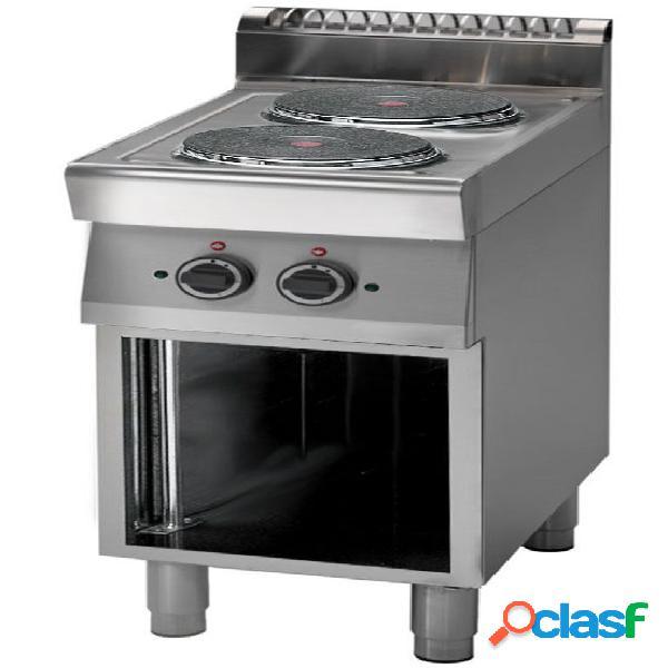 Cucina professionale elettrica con 2 piastre su armadio aperto, profondità 700 mm