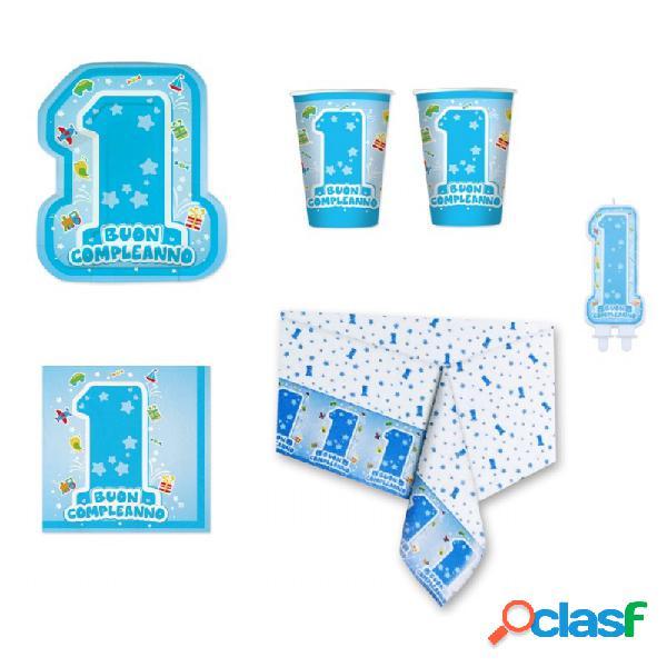 Kit n 24 - festa primo compleanno one light blue per bambino