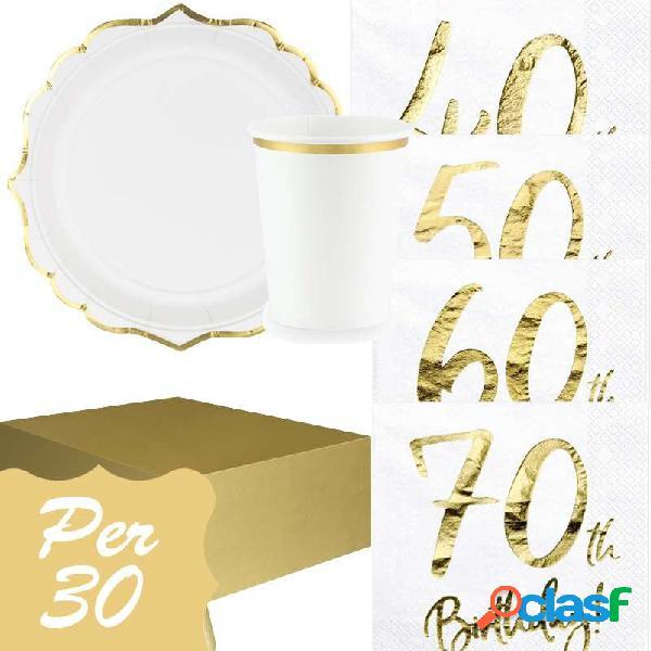 Kit n.3 set tavola 40 50 60 o 70 anni - set festa bianco e oro
