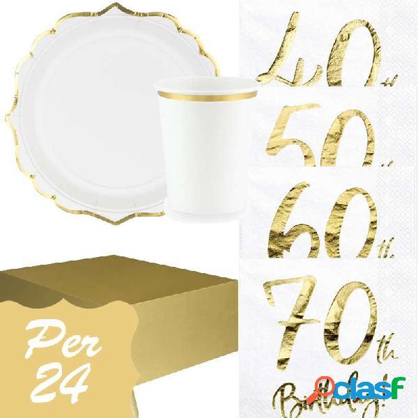 Kit n.16 compleanno 40 50 60 70 anni - set festa completo