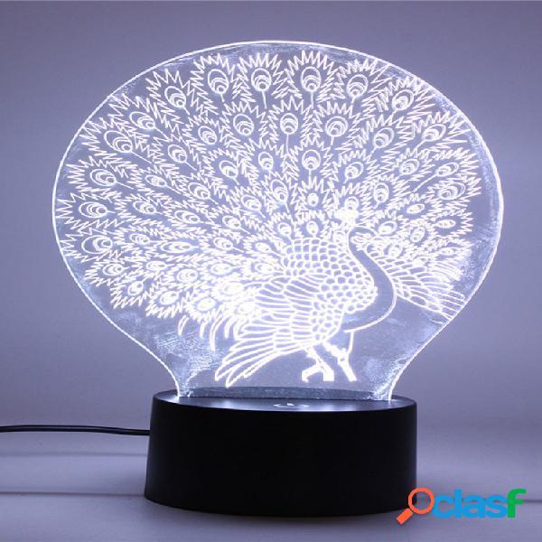 Peacock 3d acrilico led luce notturna 7 colori touch desk lampada regalo di natale soggiorno decorazioni per la casa