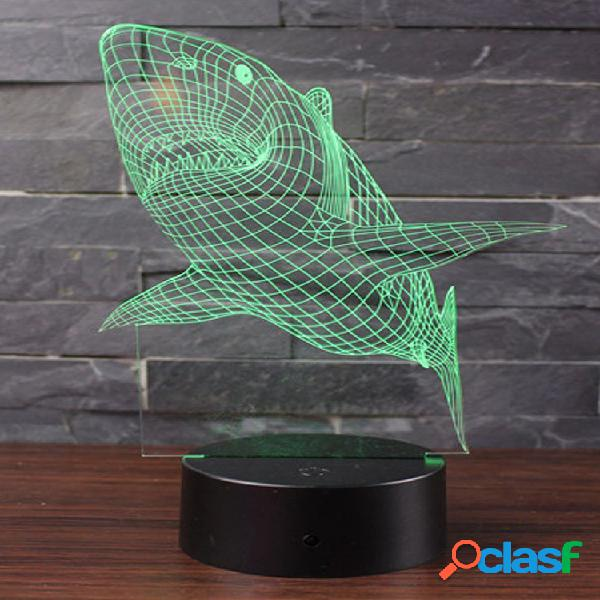 Shark 7 color 3d led touch control lampada regali di compleanno night light bedroom home decor