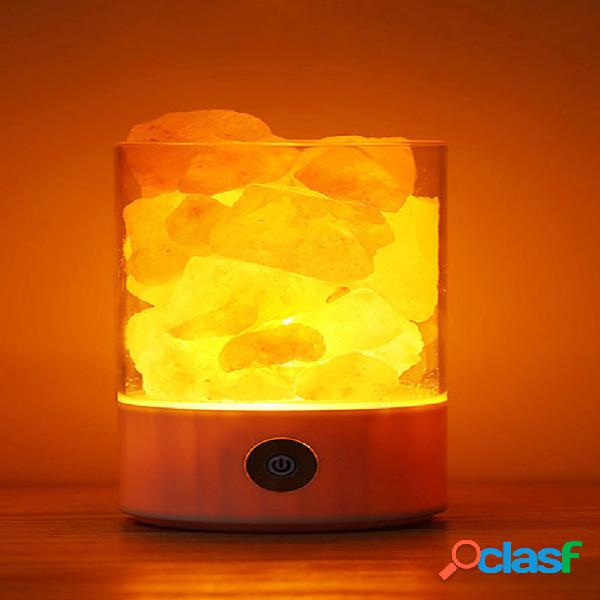 Lampada di sale dell'himalaya naturale sali di cristallo unici night light home bedroom lighting decor