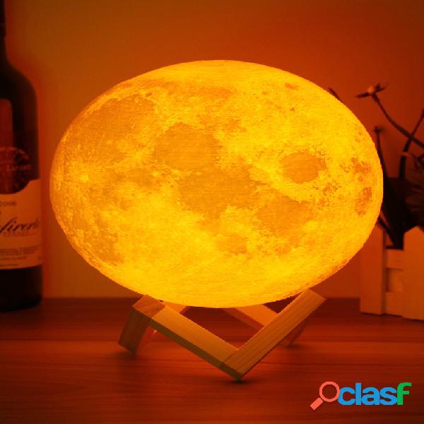Decbest 20cm 3d lampada magica a luna in 2 tonalità con usb cavo da carica led luce nottura con touch sensore regalo