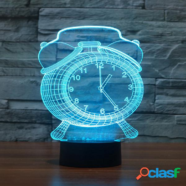 Alarm clock lampada 3d visual led night light usb ricarica camera da letto home decor