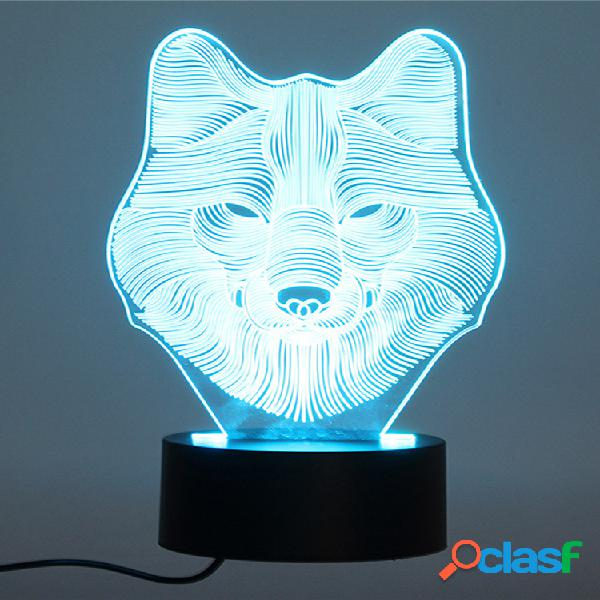 Decbest 3d wolf night light 7 cambia colore led desk table toy toy camera da letto home decor