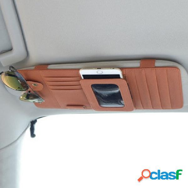 Universale multifunzione per auto parasole cd clip card in pelle borsa porta occhiali da sole per telefono