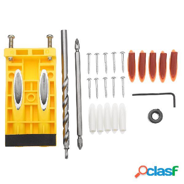 Drillpro woodworking wood pocket hole drill guida kit di jig tool strumento di maschiatura per fori obliqui