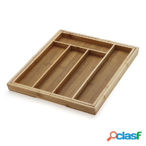Cassetto in bambù organizzatore vassoio per posate da cucina vassoio per posate espandibile per utensili scatola