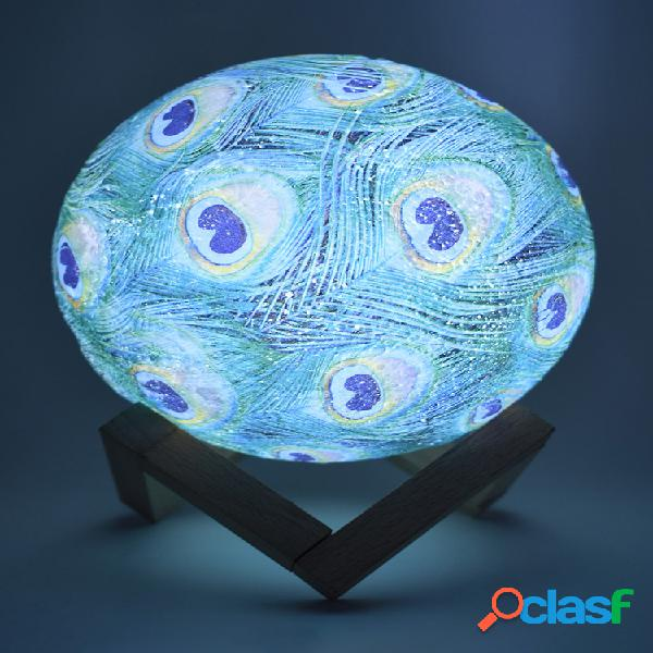 Decorazioni natalizie 15cm 3d stampa peacock moon lampada led night light remote control usb ricaricabile regalo
